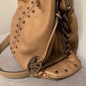 Hobo Satchel - Metallic Camel Leather w/Gold Studs